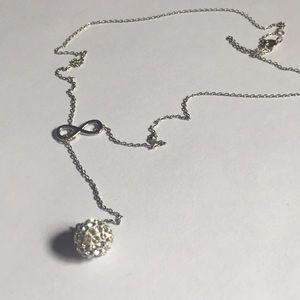 Sterling 925 swarovski crystal ball infinity chain